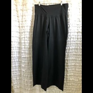 Black Wide Leg Linen Elastic Waist Pants